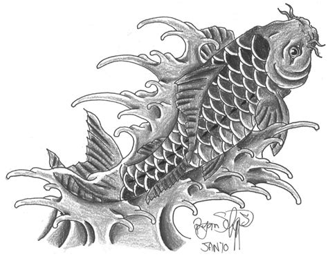 black and grey koi fish tattoo designs black and grey koi fish designs elaxsir