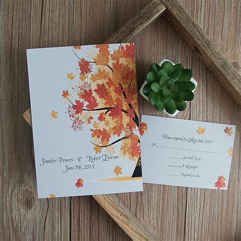 Cheap Fall Wedding Invitations by Cheap Maple Tree Fall Rustic Wedding Invitations Ewi404 As