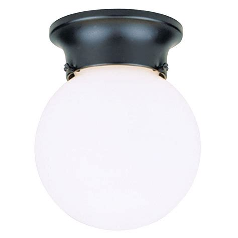 Glass Globes For Light Fixtures Westinghouse 1 Light Black Flush Mount Exterior Fixture With White Glass Globe Shop Your Way