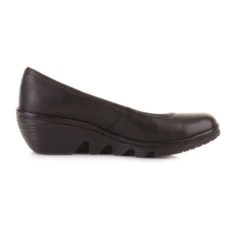 womens fly black leather wedge heel court shoes size 3 8 ebay