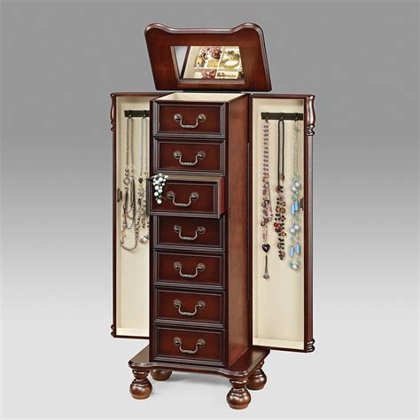 Jewelry Storage Cabinet Jewelry Armoire Storage Cabinet Drawers W Flip Top Mirror Cherry Finish