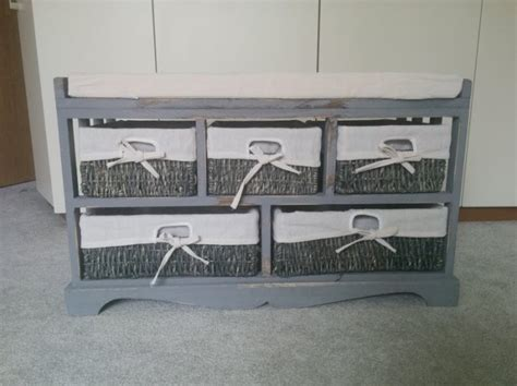 shabby chic storage bench with 3 baskets for sale in dun