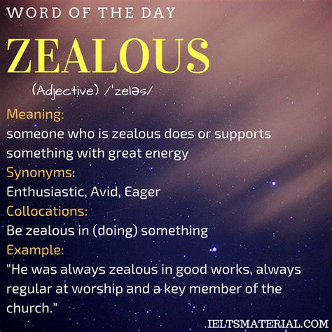 Of The Day zealous word of the day for ielts
