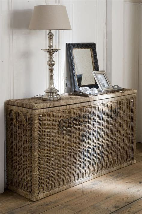 sofa table with wicker baskets vintage basket and console table in one burlap rattan