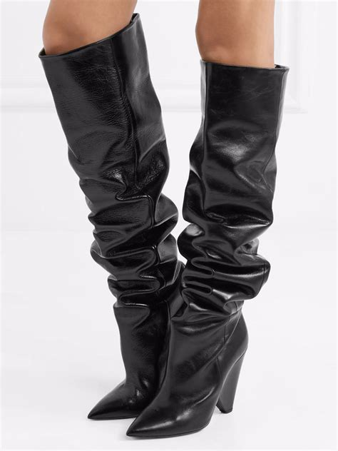 Heeled Pointed Boots black leather pointed heeled the knee boots choies