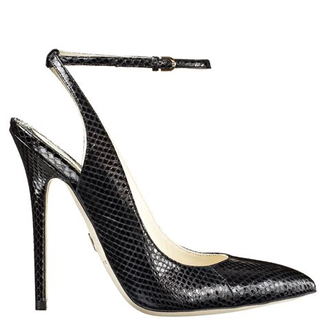 Pointy Pumps With Ankle black snake print ankle pointed toe pumps