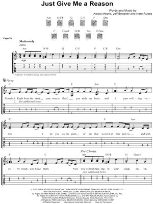 tutorial guitar just give me a reason pink just give me a reason piano sheet music free easy