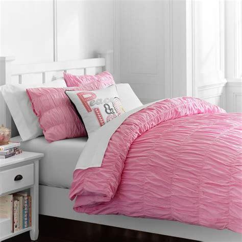 pink ruched comforter ruched duvet cover sham soft pink pbteen