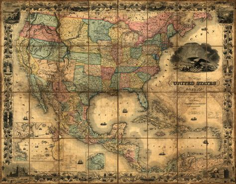 united states wall maps united states and mexico 1857 wall map mural