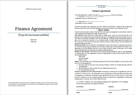 financial agreement template ms word finance agreement template word document templates