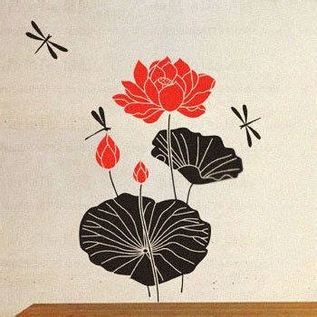 Lotus Flower Print Wall Sticker large lotus flower wall stickers decals floral wall