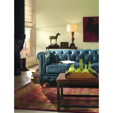 homes decorators collection home decorators collection gordon blue leather sofa