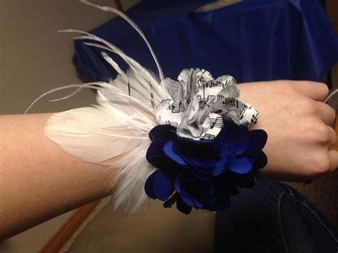 Handmade Wrist Corsage - handmade wrist corsage for prom blue and notes with