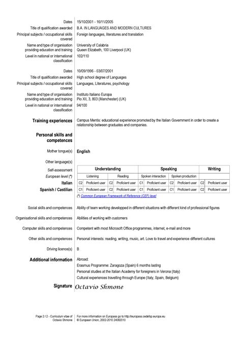 europe cv sles european resume for hospitality and tourism administration 2 grow
