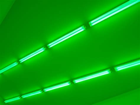 Neon And Green Fluorescent Lights Bruce Nauman Exhibition