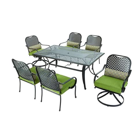 7pc Patio Dining Set Hton Bay Fall River 7 Patio Dining Set With Moss Cushions D11034 7pc The Home Depot
