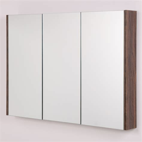 3 Door Bathroom Mirror Cabinets Aspen 3 Door Walnut Mirror Cabinet 650 H 900 W 100 P