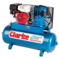 clarke sp27ec150 23cfm 150l petrol stationary air compressor machine mart machine mart