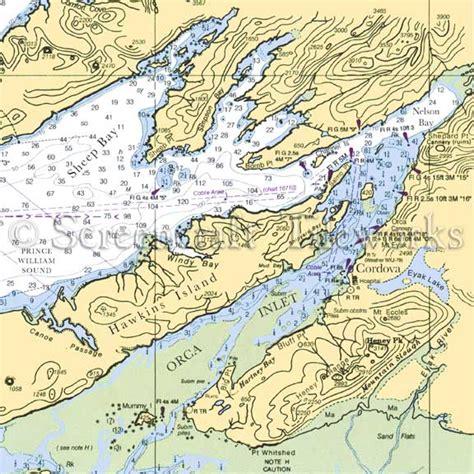 Alaska cordova nautical chart decor
