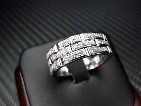 Hand Crafted K White  Ee  Gold Ee   Mens Diamond  Ee  Wedding Ee    Ee  Band Ee