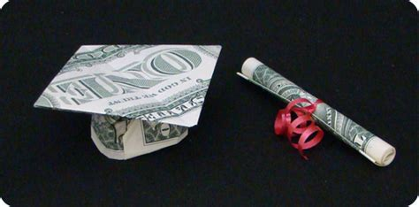 Origami Mortar Board - money mortarboard make origami
