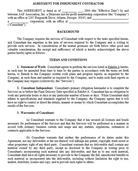 Free Printable Independent Contractor Agreement