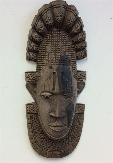 Black Tribal Brown antique leaf wooden tribal mask