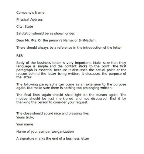business letter format recipients sle format for business letter 7 free documents in