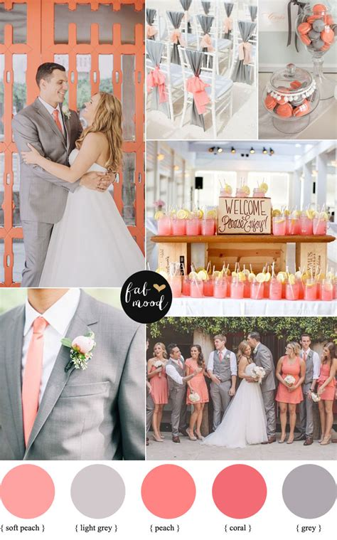 coral and grey wedding centerpieces coral and grey wedding palette wedding colors