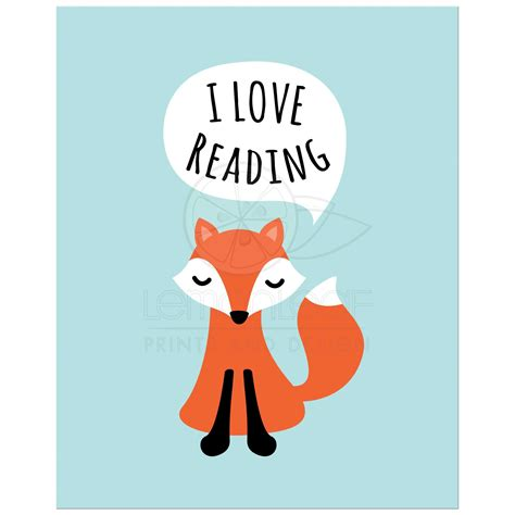 Wall Stickers For Girls Nursery cute fox saying quot i love reading quot nursery or classroom