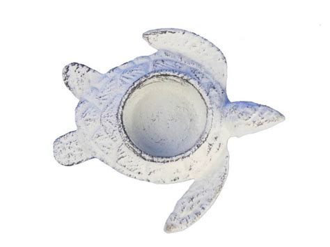 buy whitewashed cast iron turtle decorative tealight