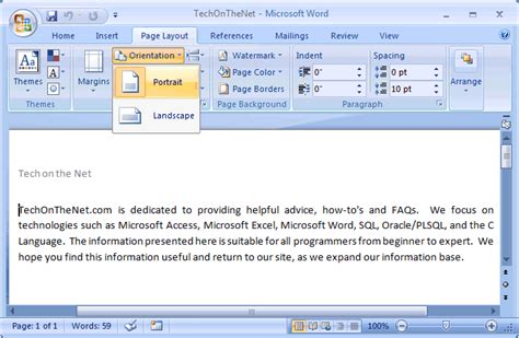 portrait layout word ms word 2007 change the page orientation to portrait