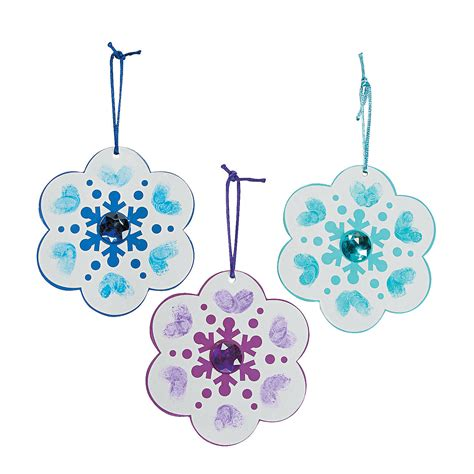 thumbprint snowflake christmas ornament craft kit
