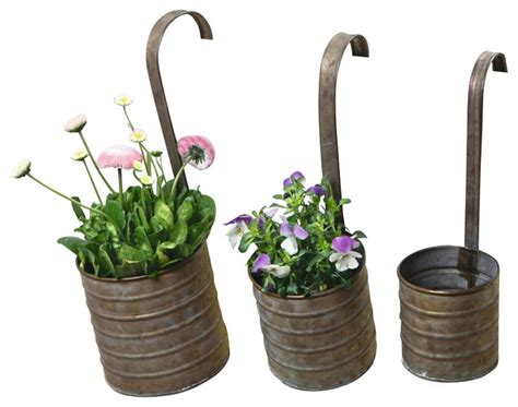 Outdoor Plant Pot Sets Hanging Metal Flower Planters With Handles Set Of 3