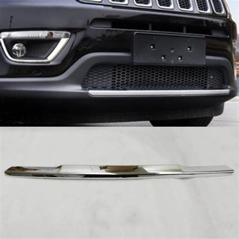 New Front Grille Cover M Hummer 12 Chrome Nrufgchch fit for jeep compass 2017 2018 abs chrome front lower bumper lip grille cover molding trim grill