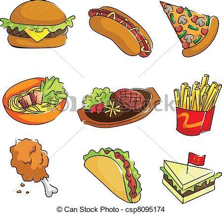 healthy fats en espanol a vector illustration of fast food icons eps vector
