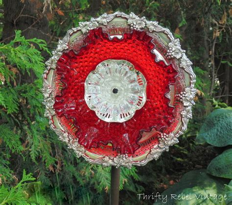 How To Make A Garden Art Dish Flower Thrifty Rebel Vintage Flower Plate Garden