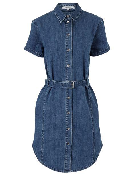Blue Print Belted Denim Ml carven blue denim belted dress in blue lyst