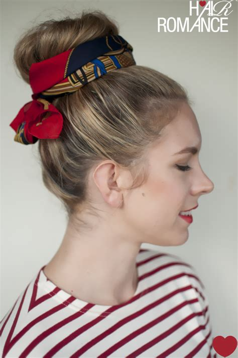 5 ways to wear a scarf and a top knot 5 put a bow on