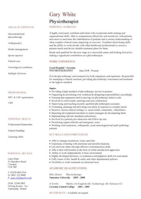 resume format for physiotherapist freshers cv template doctor cv curriculum vitae