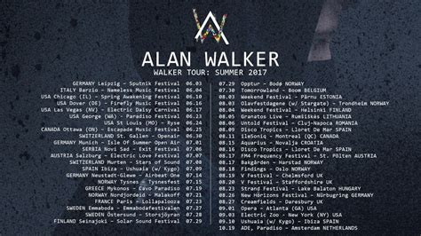 alan walker world tour alan walker walker tour summer 2017 trailer youtube
