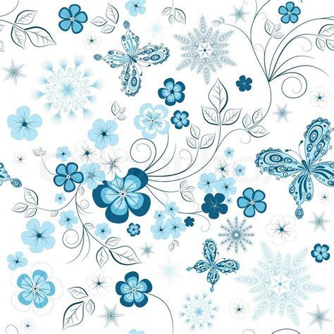 Muster Hintergrund Blumen Blau by Wei 223 Und Blau Winter Wiederholendes Muster Mit