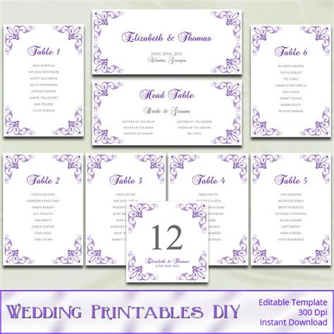 printable wedding seating chart template diy purple silver