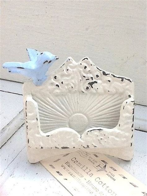 business card holder shabby creamy white small bird