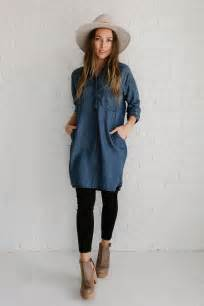 trendy denim dress with legging fashion looks for this