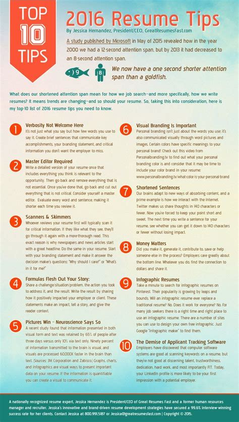 infographic 2016 resume tips top 10 resume tips for 2016 what you need to ideas