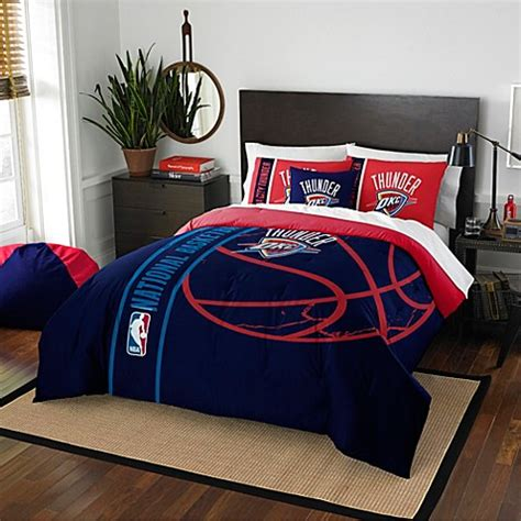 Nba Bedroom Decor by Nba Oklahoma City Thunder Embroidered Comforter Set Bed