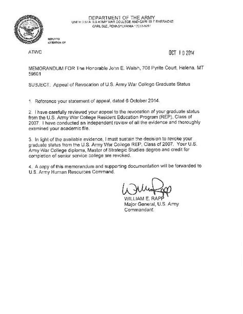 Appeal Letter Plagiarism Army War College Revokes Sen Walsh S Degree For Plagiarism Local Missoulian