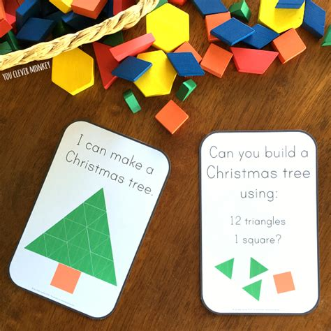 pattern block cards christmas pattern block challenge cards you clever monkey