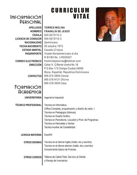 Modelo Curriculum Dominicano mocacity franklin de js torres r 233 sum 233 or curriculum vitae cv